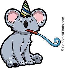 fiesta, cumpleaños, disfraz, utilizar, koala