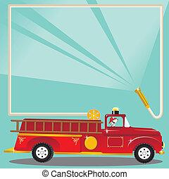 fiesta, cumpleaños, firetruck, invitación