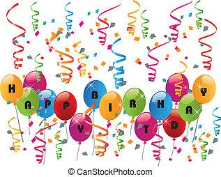 fiesta, cumpleaños, globos, feliz