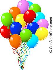 fiesta, cumpleaños, globos, o, celebración