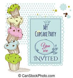 fiesta, cupcakes, diseño, pila, invitación