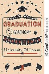 fiesta de ceremonia de entrega de diplomas, ceremonia, en, papel, plano de fondo