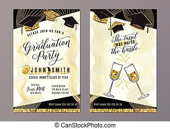 fiesta de ceremonia de entrega de diplomas, clase, de, 2018, vertical, invitación, tarjeta