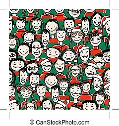 fiesta de christmas, con, grupo de las personas, seamless, patrón