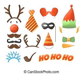 fiesta de christmas, conjunto, anteojos, sombreros, bigotes, máscaras