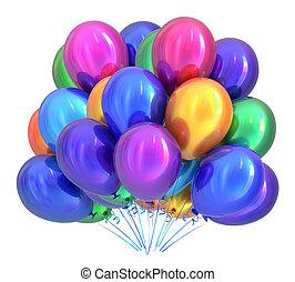 fiesta de cumpleaños, globos, decoración, multicolor., globo, ramo