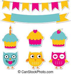 fiesta de cumpleaños, pegatinas, conjunto