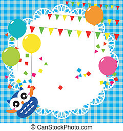 fiesta de cumpleaños, tarjeta, con, lindo, búho