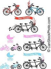 fiesta de nacimiento, con, bicicleta de tandem