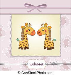 fiesta de nacimiento, gemelos, delicado, tarjeta