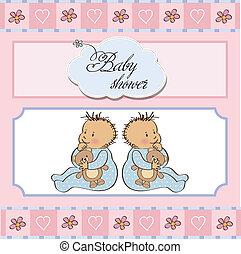 fiesta de nacimiento, gemelos, tarjeta