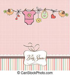 fiesta de nacimiento, niña, tarjeta