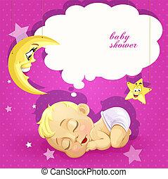 fiesta de nacimiento, rosa, tarjeta