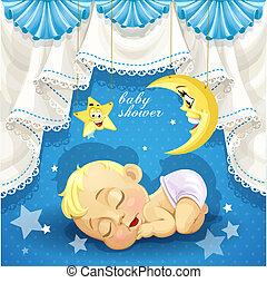 fiesta de nacimiento, sueño, tarjeta