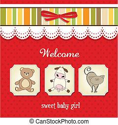 fiesta de nacimiento, tarjeta, con, juguetes