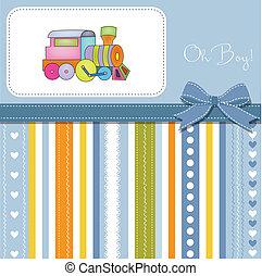 fiesta de nacimiento, tarjeta, con, tren de juguete