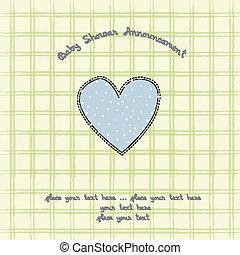fiesta de nacimiento, tarjeta, corazón