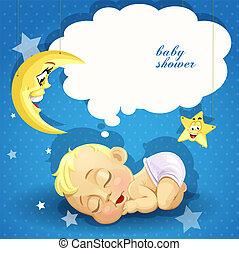 fiesta de nacimiento, tarjeta, dulce