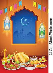fiesta, delicioso, platos, iftar