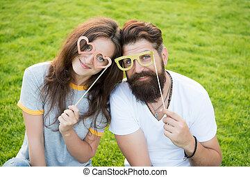 fiesta, diversión, mirada, romántico, foto, pareja, verde,...