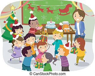 fiesta, escolares, stickman, navidad
