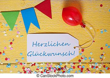fiesta, etiqueta, confeti, globo, herzlichen, glueckwunsch, medios, felicitaciones