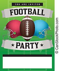 fiesta, fútbol americano, plantilla, ilustración