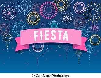 Fiesta, Fireworks and celebration background, winner,...