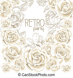 fiesta, flor blanca, retro, plano de fondo