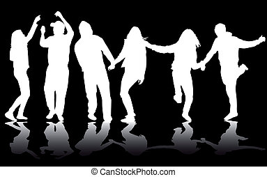 fiesta, gente, bailando