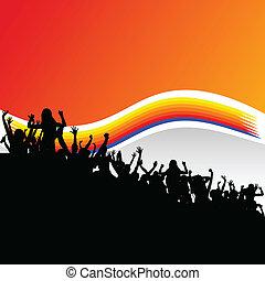 fiesta, gente, grupo, en, negro, silueta