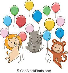 fiesta, globos, animal, themed
