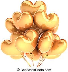 fiesta, globos, como, dorado, corazones