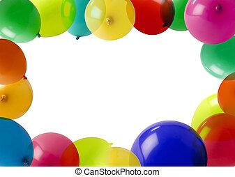 fiesta, globos, en, un, marco