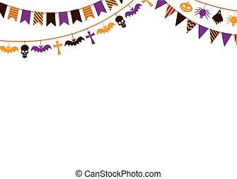 fiesta, halloween, guirnalda, 31 octubre, fondo., invitación, carnaval, tarjeta, bandera, vector, cartel, plantilla, guirnaldas, banderas