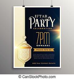fiesta, iftar, comida, plantilla, invitación