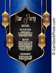 fiesta, iftar, diseño, menú