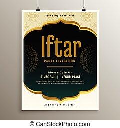 fiesta, iftar, diseño, plantilla, invitación