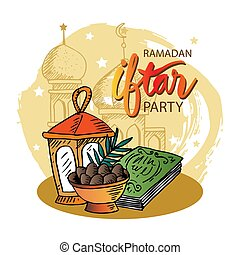 fiesta, iftar, kareem, celebración, ramadan