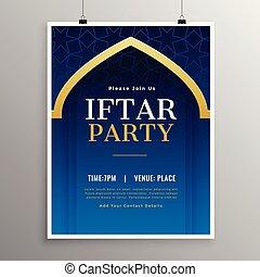 fiesta, iftar, ramadan, plantilla, invitación