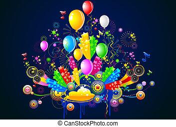 fiesta, ilustración, celebración