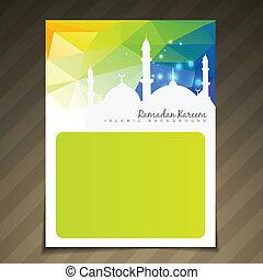 fiesta, islámico, brillante, plantilla