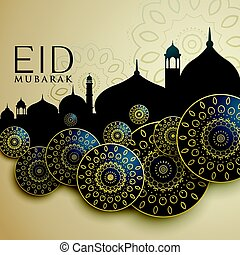 fiesta, islámico, diseño, eid, mubarak