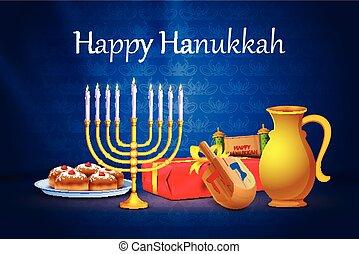 fiesta, israel, feliz, plano de fondo, hanukkah