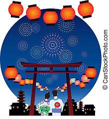 fiesta, japón, graphi, vector, verano