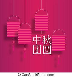 fiesta, linterna, chino, reunión