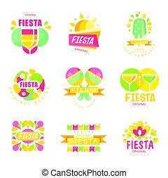 Fiesta logo original design set, labels for a holiday colorful vector Illustrations