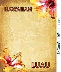 fiesta, luau, hawaiano, tarjeta, invitación