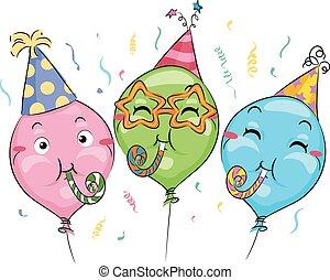 fiesta, mascota, globos, soplador