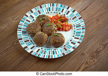 Fiesta Meatballs with vegetables. close up